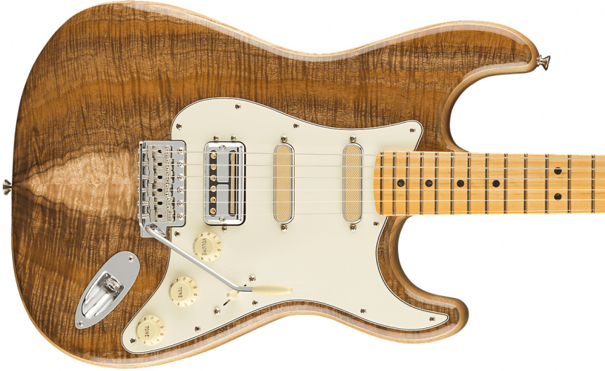 Koa Flame Ash Top Strat Pickups