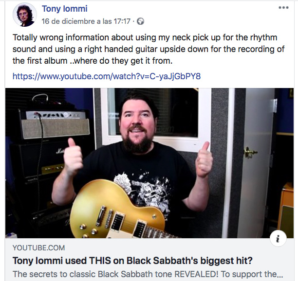 Tony Iommi Facebook