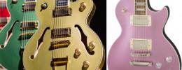 Colores metalizados y electrónica actualizada en las Epiphone Uptown Kat ES, Les Paul y SG Muse