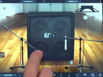 AmpliTube 4 para iOS permite posicionar los micrófonos con el dedo