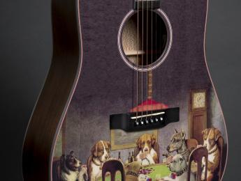 Un toque artístico en la nueva Martin D-16E PD Poker Dogs