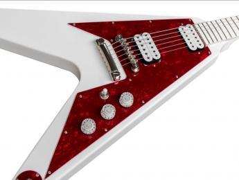 Ltd. Ed. Dave Rude Flying V Outfit. Una Epiphone totalmente blanca para el guitarrista de Tesla